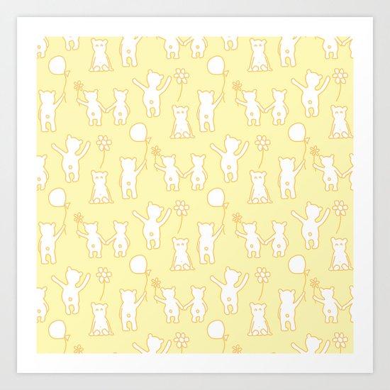Happy Teddies / Pastel Yellow Art Print