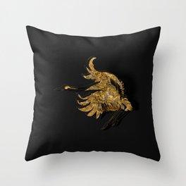 Gold Fauna on Black Throw Pillow