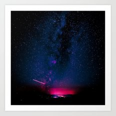 Stars and Space Night Sky - Electric Starry Milky Way in Arizona Art Print