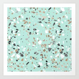 Glitter and Grit Marble Mint Green Art Print