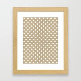 Small Polka Dots - White on Khaki Brown Framed Art Print