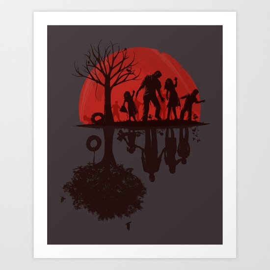 A Family Once (dark version) Art Print