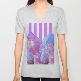 MODERN ABSTRACT LILAC AMETHYST CRYSTALS ART Unisex V-Neck