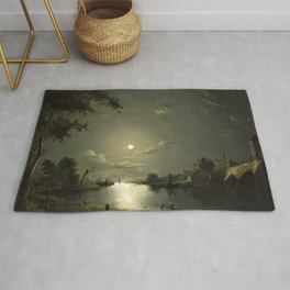 Classical Masterpiece Moonlit River Landscape with a Town by Abraham Pether Rug