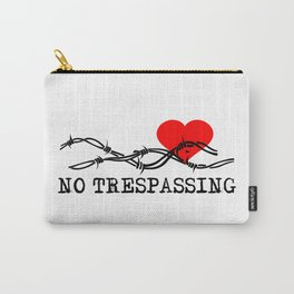 No Trespassing Black On White Vertical Carry-All Pouch