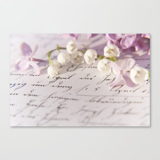 Loveletter - Springflower and old letter - Photography Canvas Print