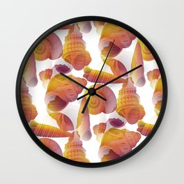 Ancient Seashells Illustration in Red Natural Colors Wall Clock