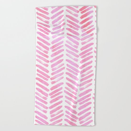 Handpainted Chevron pattern - pink and pink ;) Beach Towel