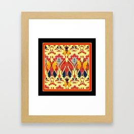 Ornate Black & Yellow Art Nouveau Butterfly Red Designs Framed Art Print