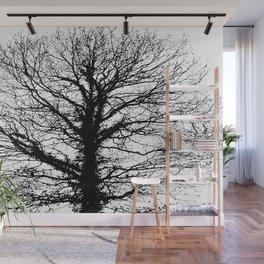 Black tree in wintertime. Wall Mural