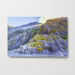 Beautiful curvy rock formations carved by the retreat of Franz Josef Glacier, South Island, New Zealand Metal Print