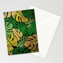 Grunge Monstera Leaves Stationery Cards