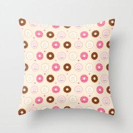 Cute Little Donuts on Cream Throw Pillow