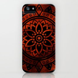 Burnt Orange & Black Patterned Flower Mandala iPhone Case