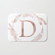 Letter D Rose Gold Pink Initial Monogram Bath Mat