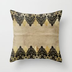 Elegance- Ornament black and gold lace on grunge paper backround Throw Pillow