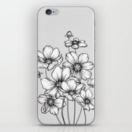 Flowers Black and White iPhone Skin