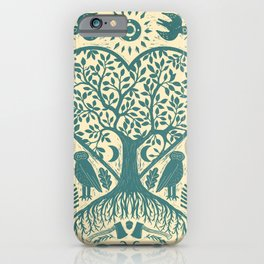 Rustic Early American Tree Of Life Woodcut iPhone Case