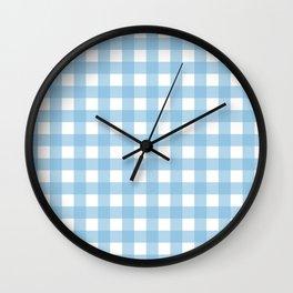 Light Blue & White Gingham Pattern Wall Clock