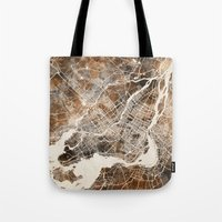 montreal Tote Bags featuring Montreal by Map Map Maps