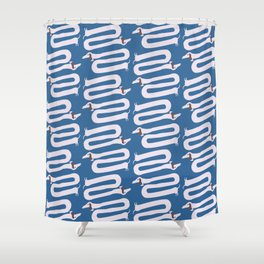 Long wiener dog with floppy ears   Q9Q Pattern Shower Curtain