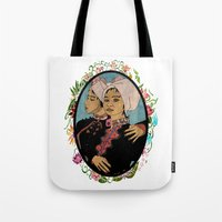 twins Tote Bags featuring Twins by Nina Twin