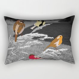Birds on Grass Rectangular Pillow