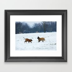 Lets play - Dogs in the snow Framed Art Print