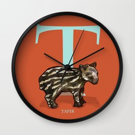 T is for Tapir: Under Appreciated Animals™ ABC nursery decor bright red unusual animals Wall Clock