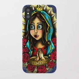 Lady Of Guadalupe (Virgen de Guadalupe) BLUE VERSION iPhone Case