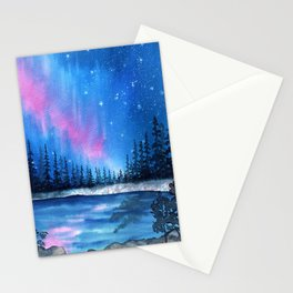 """""""Lavender Lights"""" Aurora Borealis watercolor painting Stationery Cards"""