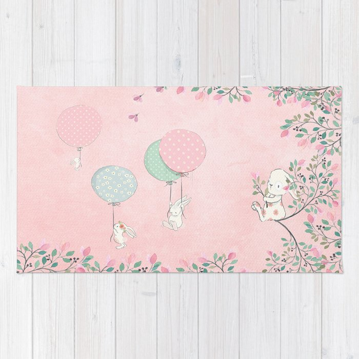 Cute Flying Bunny With Balloon And Flower Rabbit Animal On