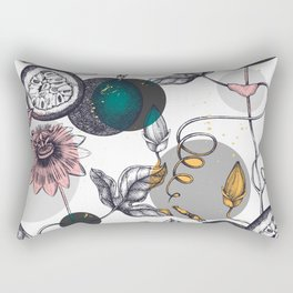 Abstract Black Gray Pink Watercolor Passion Fruit Pattern Rectangular Pillow