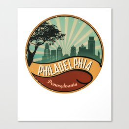 Philadelphia City Skyline Pennsylvania Retro Vintage Design Canvas Print