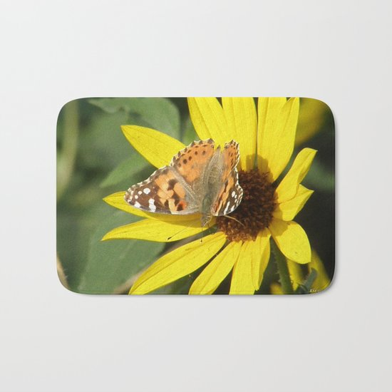 Painted Lady Butterfly Picks Pollen Bath Mat