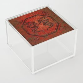 Distressed Dueling Dragons in Octagon Frame With Chinese Dragon Characters Acrylic Box