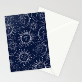 Blue Magic Celestial Sun Moon Stars Stationery Cards