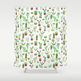Seamless watercolor cactuses pattern Shower Curtain