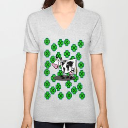 fortune leaves and cows Unisex V-Neck