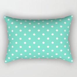 White Polkadot Spots on Aqua Blue Box Rectangular Pillow