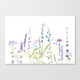 purple blue wild flowers watercolor painting Canvas Print