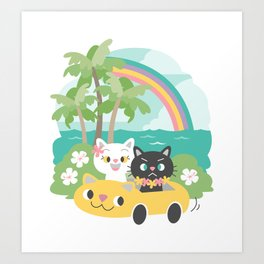 Popoki Tomodachi - Road Trip Art Print