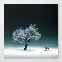 Baby Roe and Tree Conversation Canvas Print
