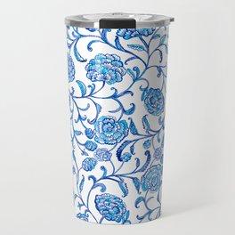 Blue Flowers on White by Fanitsa Petrou Travel Mug
