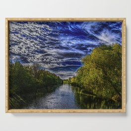 Branch River at Forestdale, Rhode Island Landscape Painting by Jeanpaul Ferro Serving Tray