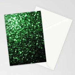 Glamour Dark Green glitter sparkles Stationery Cards