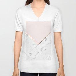 Peony blush geometric marble Unisex V-Neck
