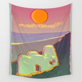 Red Moon Summer Vibrations Wall Tapestry