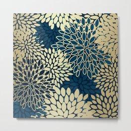 Gold Art, Floral Art Prints with Navy Blue Metal Print