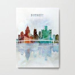 Detroit city skyline - watercolor Metal Print